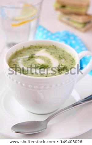 Frío pepino sopa yogurt bandeja Foto stock © Melnyk