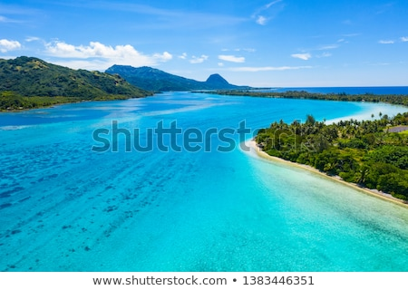 Aerial view of French Polynesia Tahiti island Huahine and Motu coral reef lagoon Stock photo © Maridav