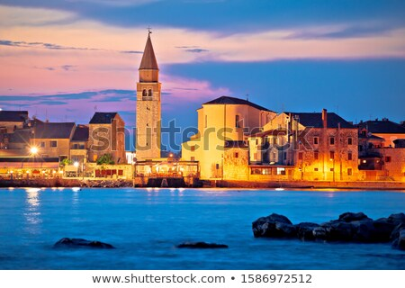 Town of Umag waterfront and coast evening view Stock photo © xbrchx