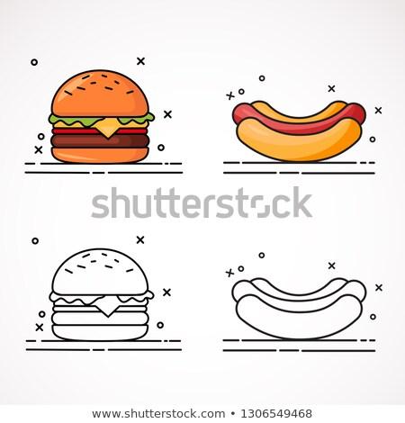 гамбургер Hot Dog набор плакатов быстрого питания американский Сток-фото © robuart