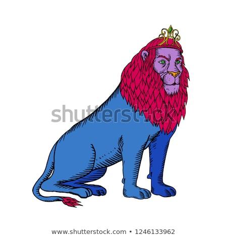 Azul león sesión tiara corona Foto stock © patrimonio
