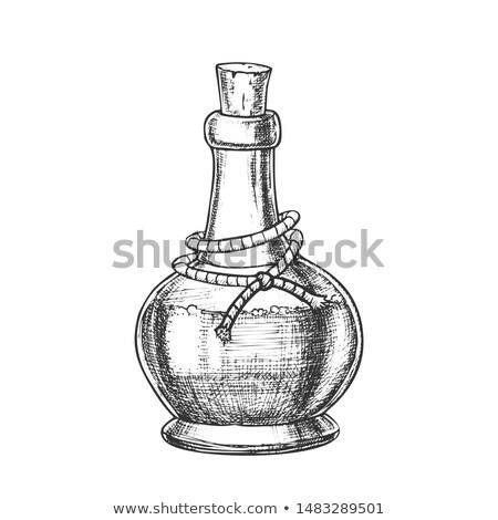 毒 ボトル コルク キャップ モノクロ ベクトル ストックフォト © pikepicture