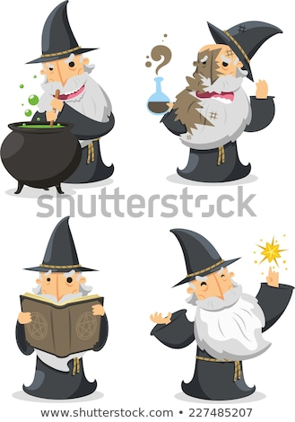 Wizard Cartoon Character and Cauldron Stock photo © Krisdog