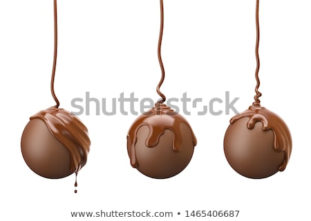 Chocolate truffles on cocoa background Stock photo © Alex9500