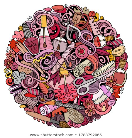 Massage hand drawn doodles round illustration. Spa salon poster design Stock photo © balabolka