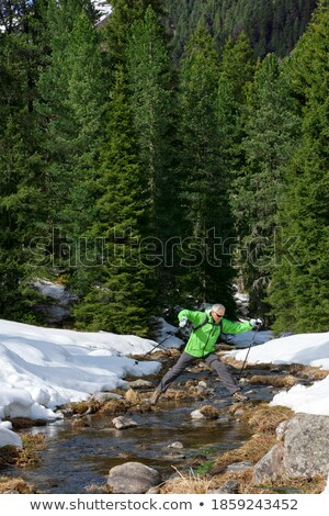 Active man with trekking sticks and backpack moving down forest road Stock photo © pressmaster