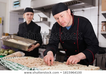 férfi · hús · konyhapult · portré · kaukázusi · fa - stock fotó © nito