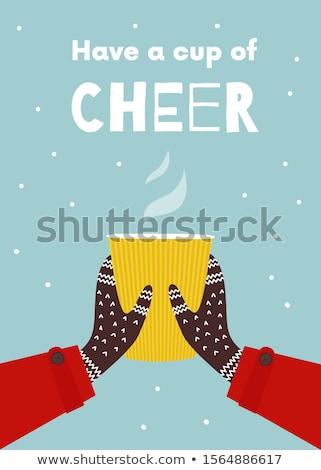 Navidad · tarjeta · de · felicitación · árbol · mitones · chocolate · caliente - foto stock © karandaev