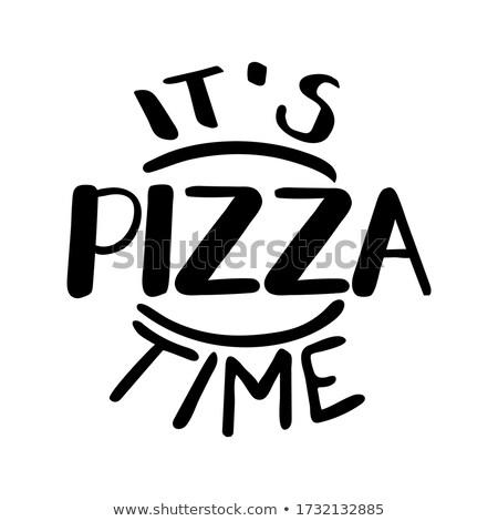 Dibujado a mano ilustración pizza anunciante signo Foto stock © masay256