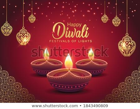 red banner with creative happy diwali diya lamp Stock photo © SArts