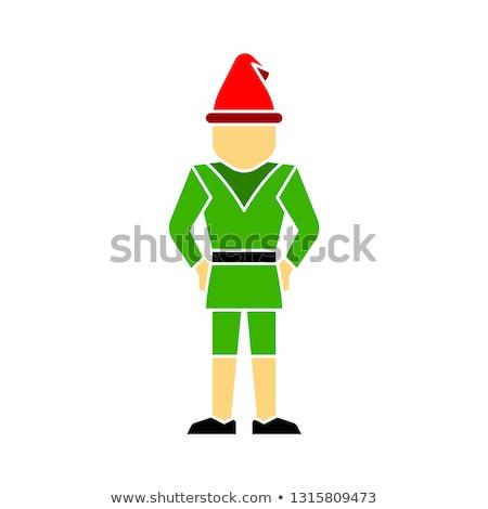 Christmas card with cute gnome Stock photo © balasoiu