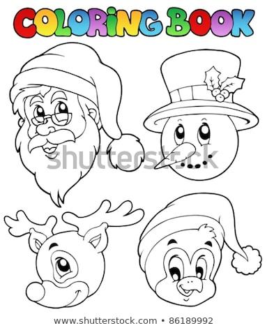 Livro para colorir natal pinguim tópico livro arte Foto stock © clairev