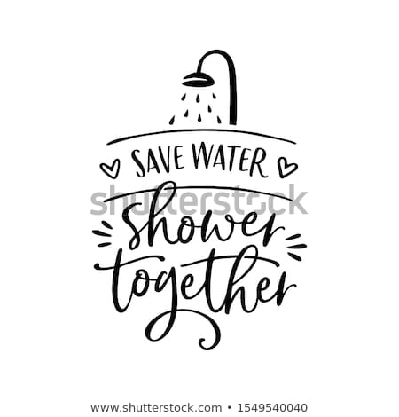 Salvar água chuveiro juntos engraçado vetor Foto stock © Zsuskaa