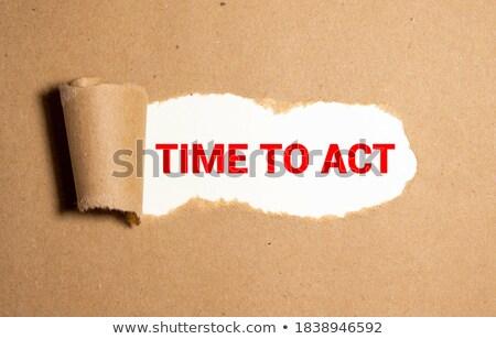 Emergência texto atrás rasgado papel pardo envelope Foto stock © DenisMArt