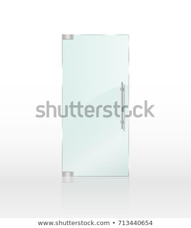 Szkła drzwi uchwyt biały ramki wektora Zdjęcia stock © pikepicture