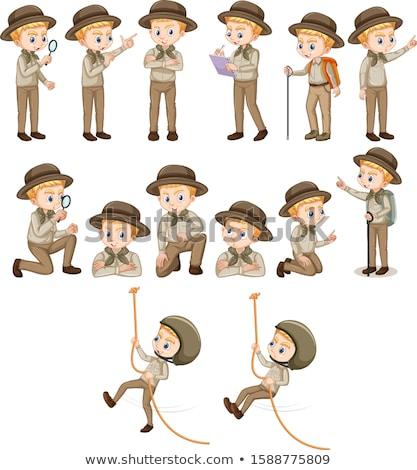 Chłopca safari inny ilustracja tle Zdjęcia stock © bluering