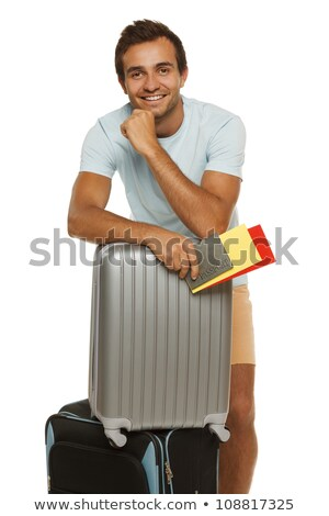 Retrato homem sorridente mala passaporte Foto stock © Lopolo
