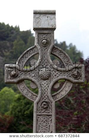 Celtic croix Irlande cimetière Voyage histoire Photo stock © borisb17