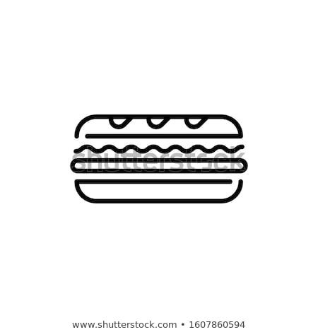 бекон сыра сэндвич икона вектора Сток-фото © pikepicture