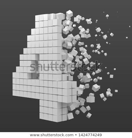 Blanche cube pixel police nombre quatre Photo stock © djmilic