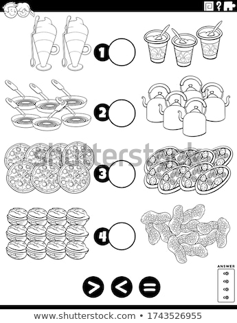 greater less or equal educational game with food objects Stock photo © izakowski