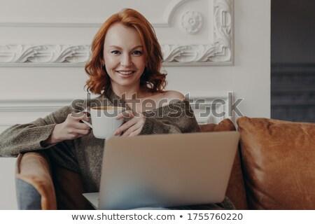 Imbir kobiet wygodny sofa kubek Zdjęcia stock © vkstudio