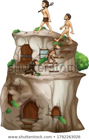 Menselijke evolutie omhoog steen huis illustratie Stockfoto © bluering