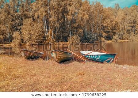 小 · 木製 · ボート · 空っぽ · 桟橋 · 湖 - ストックフォト © fotografci