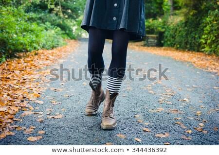Láb csíkos zokni csizma vektor végtelen minta Stock fotó © ekapanova