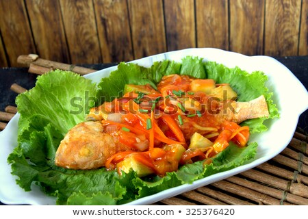 kínai · étel · édes · fanyar · kínai · fehér · tányér - stock fotó © papa1266