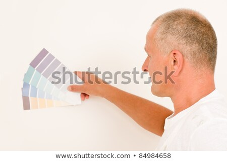 Home decorating mature male painter color swatches stock photo © CandyboxPhoto
