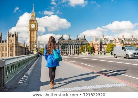 женщину Лондон иллюстрация автобус зонтик фон Сток-фото © dayzeren