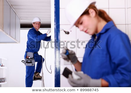 femminile · manuale · lavoratore · blu · legno - foto d'archivio © photography33
