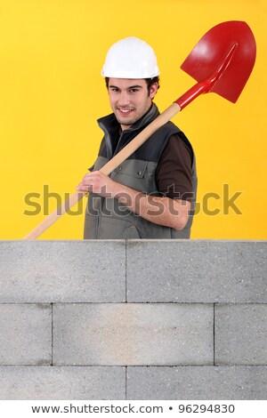 Сток-фото: работник · стены · лопата · дома · глаза · здании