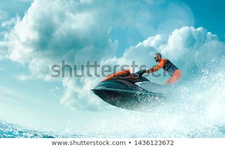 跳ね 周りに ターン 水 海 ボート ストックフォト © Sportlibrary