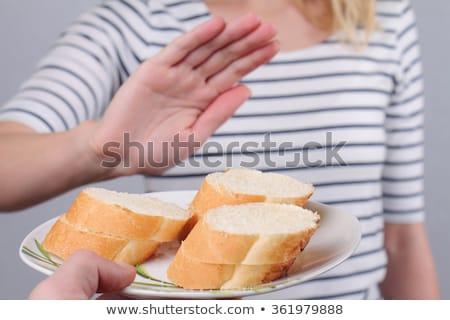 女性 白パン 食品 手 目 小さな ストックフォト © photography33