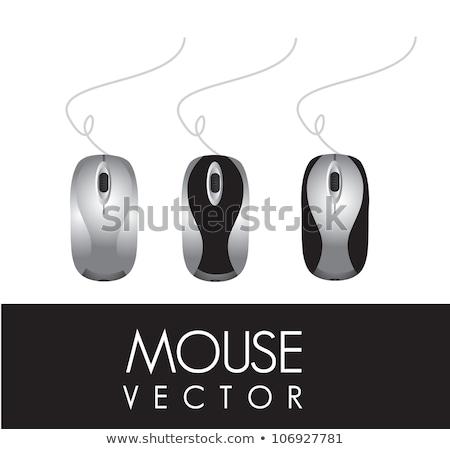 Elegante preto mouse de computador isolado branco computador Foto stock © vkraskouski