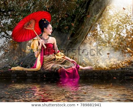 thai · hagyományos · esernyő · kép · felső · kilátás - stock fotó © pongam