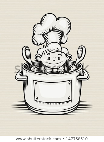 baby with big cooking pot Stock photo © gewoldi