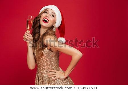 mooie · meisje · glas · champagne · mooie · mooie · vrouw - stockfoto © ssuaphoto