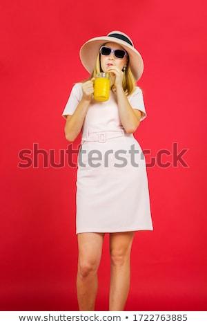 Kadın portakal suyu oturma yatak Stok fotoğraf © wavebreak_media