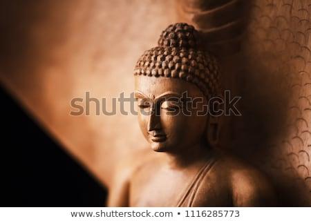 Buda cabeça estatueta branco parede madeira Foto stock © 3523studio