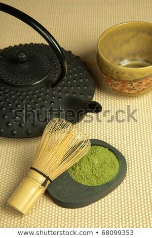 chá · verde · pote · horizontal · foto · foco - foto stock © tab62