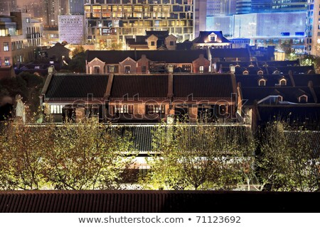 Edad chino casas alto Shanghai China Foto stock © billperry
