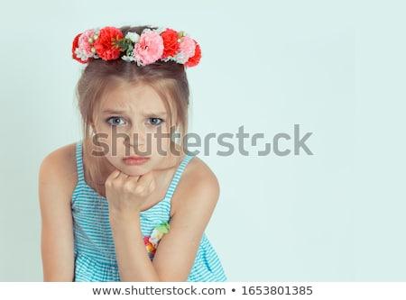boos · peinzend · jonge · vrouw · naar · portret · Blauw - stockfoto © pablocalvog