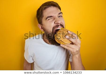 derűs · fiatal · srác · eszik · hamburger · fehér · gyermek - stock fotó © wavebreak_media
