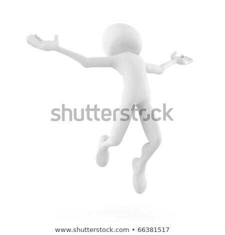 3d man jumping becouse he is so happy! - isolated on white Stock photo © digitalgenetics