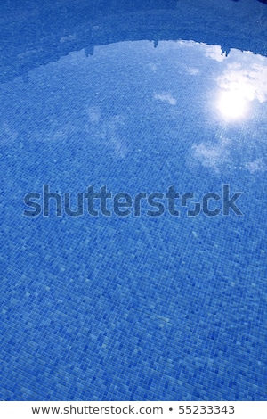 blue tiled swimming pool with sun reflexion Stock photo © lunamarina