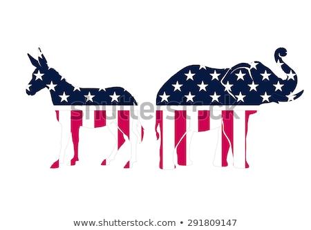 democrata · burro · desenho · animado · ícone · democrático · sorridente - foto stock © redkoala