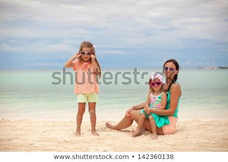 明るい 母親 2 子供 エキゾチック ビーチ ストックフォト © travnikovstudio
